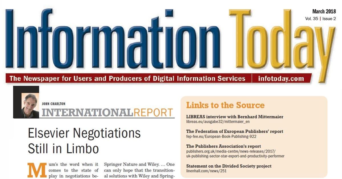 International Report Elsevier Negotiations Still In Limbo