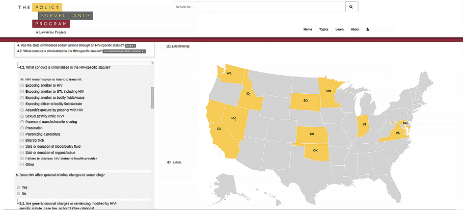 This LawAtlas map lets you click on a state to determine which states have criminalized certain actions by HIV-positive individuals.