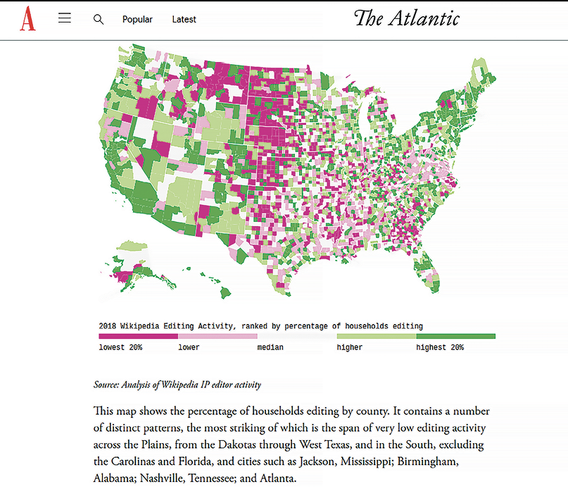 The Atlantic published a map showing Wikipedia editing activity.
