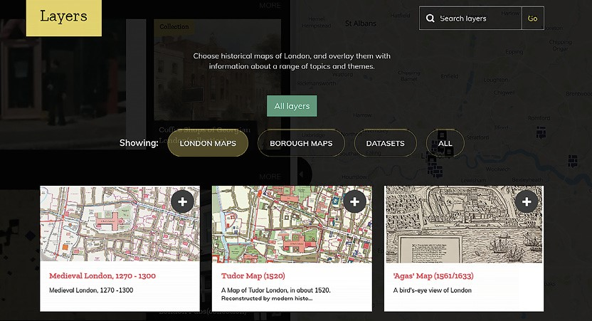 The British Library's Layers of London maps shows the history of the city.