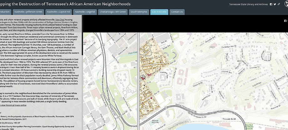The Tennessee State Library and Archives developed a set of maps that highlight the destruction of African American neighborhoods.