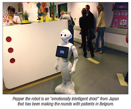 "Pepper the robot is an ""emotionally intelligent droid"" from Japan that has been making the rounds with patients in Belgium."