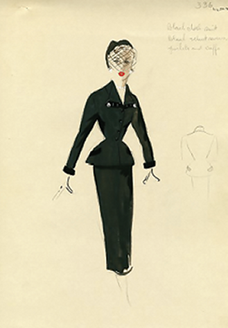 "Figure 4. Hattie Carnegie, Inc., ""Black Day Suit with Flared Jacket and Fitted Skirt"""