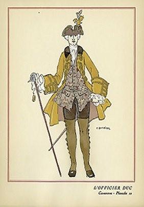 """Figure 6: Barbier, George, 1882–1932, """"L'Officier Duc"""""""